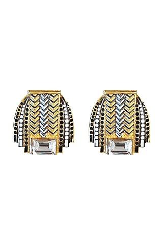 Gold Plated Swarovski Crystals Stud Earrings by Valliyan By Nitya Arora