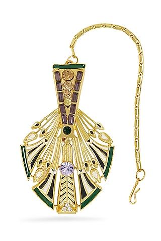 Gold Plated Swarovski Crystals Feather Maang Tikka by Valliyan By Nitya Arora