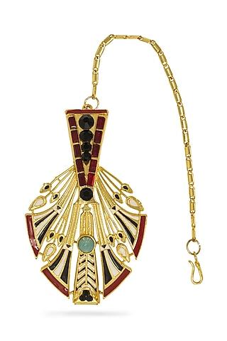 Gold Plated Feather Maang Tikka With Swarovski Crystals by Valliyan By Nitya Arora