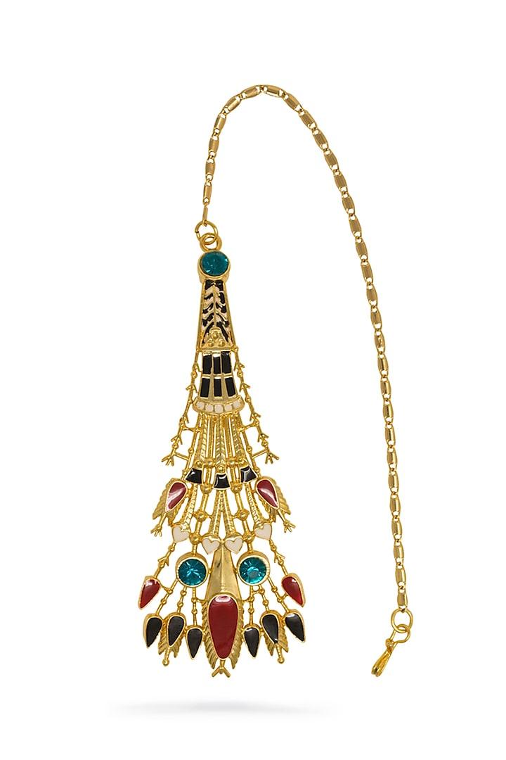 Gold Plated Swarovski Crystals Maang Tikka by Valliyan By Nitya Arora