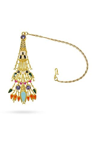 Gold Plated Maang Tikka With Swarovski Crystals by Valliyan By Nitya Arora