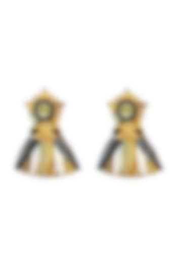 Gold Plated Swarovski Crystals Leaf Earrings by Valliyan By Nitya Arora