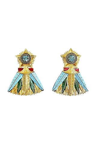 Gold Plated Leaf Earrings With Swarovski Crystals by Valliyan By Nitya Arora