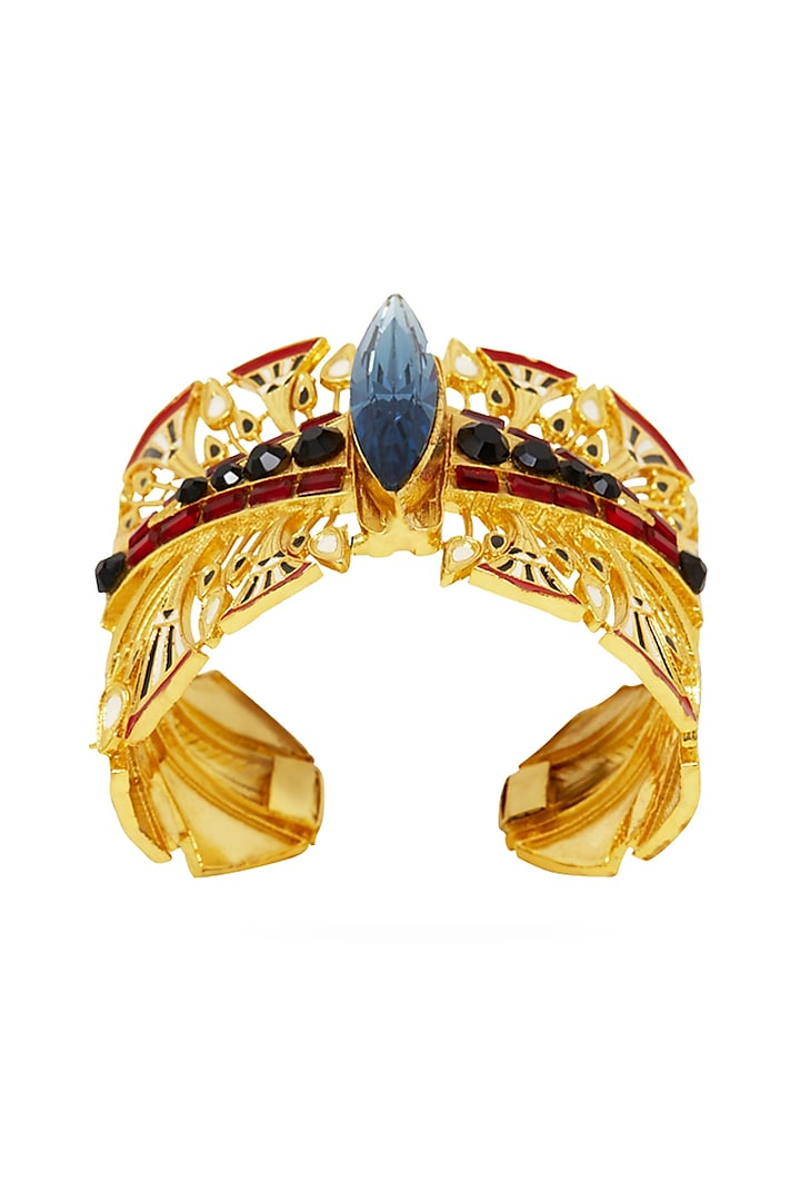 Gold Plated Swarovski Crystals Bracelet by Valliyan By Nitya Arora