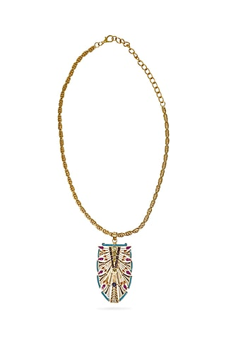 Gold Plated Swarovski Crystals Egyptian Pendant Necklace by Valliyan By Nitya Arora