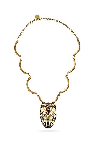 Gold Plated Swarovski Crystals Pendant Necklace by Valliyan By Nitya Arora