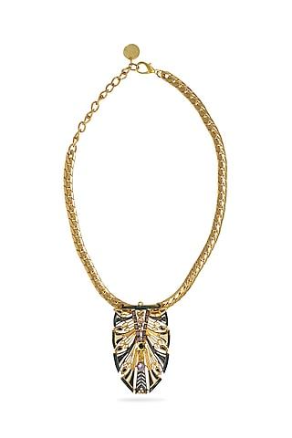 Gold Plated Swarovski Crystals Egyptian Necklace by Valliyan By Nitya Arora