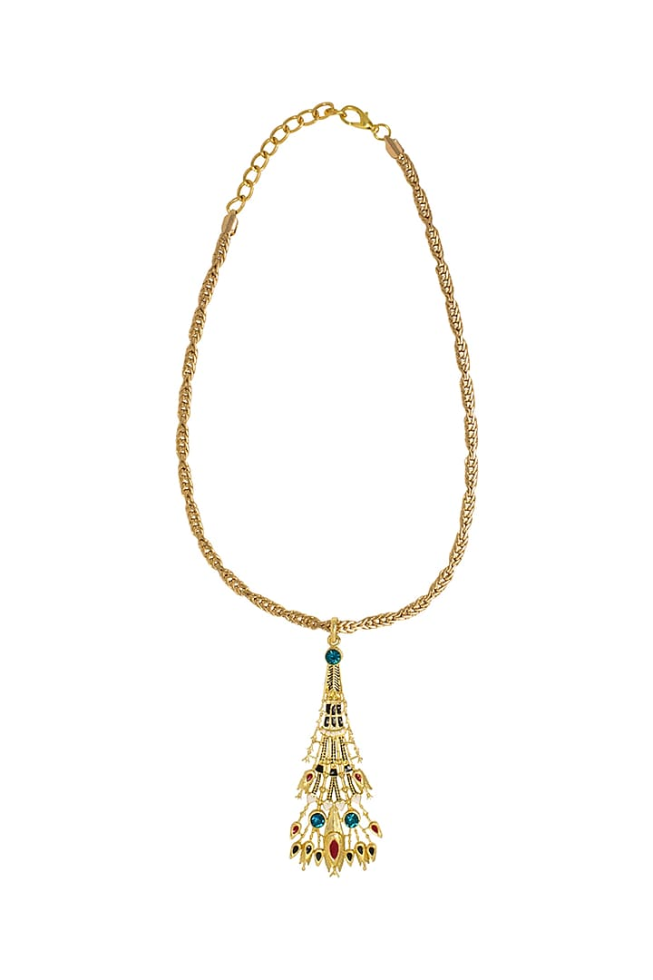Gold Plated Egyptian Pendant Necklace With Swarovski Crystals by Valliyan By Nitya Arora