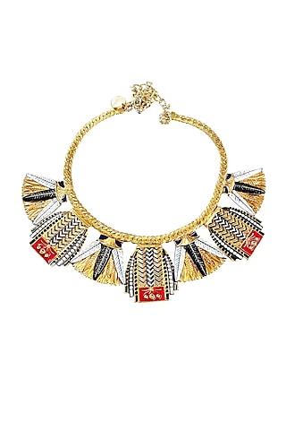 Gold Plated Swarovski Crystals Cleopatra Necklace by Valliyan By Nitya Arora