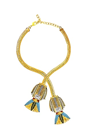 Gold Plated Swarovski Crystals Egyptian Cross-Over Necklace by Valliyan By Nitya Arora