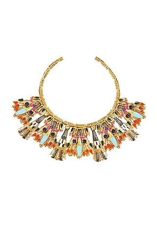 Gold Plated Necklace With Swarovski Crystals by Valliyan By Nitya Arora