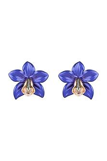 Gold Plated Metallic Blue Orchid Stud Earrings by Valliyan by Nitya Arora