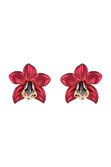 Gold Plated Metallic Red Orchid Stud Earrings by Valliyan by Nitya Arora