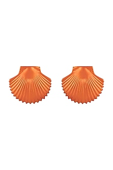Gold Plated Metallic Orange Shell Stud Earrings by Valliyan by Nitya Arora
