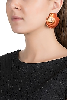 Gold Plated Metallic Orange Shell Stud Earrings by Valliyan by Nitya Arora