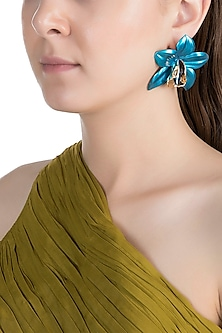 Gold Plated Metallic Turquoise Orchid Stud Earrings by Valliyan by Nitya Arora