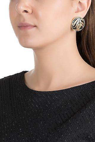 Gold Plated Hand Painted Meenakari Stud Earrings by Valliyan by Nitya Arora