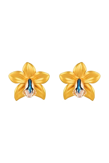 Gold Plated Metallic Yellow Orchid Stud Earrings by Valliyan by Nitya Arora