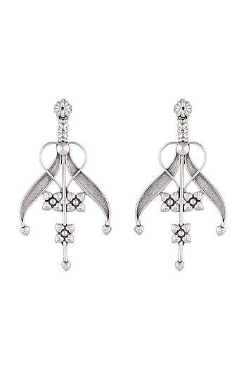 Silver Finish Antique Tribal Lily Earrings by Valliyan by Nitya Arora