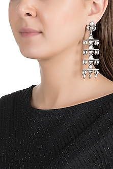 Silver Finish Antique Tribal Long Earrings by Valliyan by Nitya Arora
