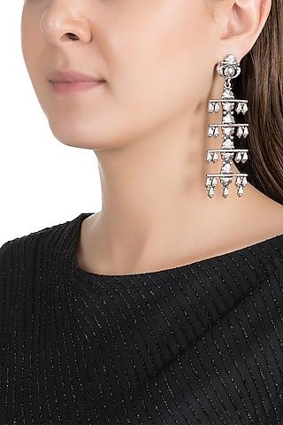 Silver Finish Antique Tribal Long Earrings by Valliyan by Nitya Arora
