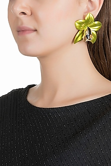 Gold Plated Metallic Lime Green Orchid Stud Earrings by Valliyan by Nitya Arora