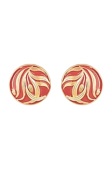 Gold Plated Red Hand Painted Meenakari Stud Earrings by Valliyan by Nitya Arora
