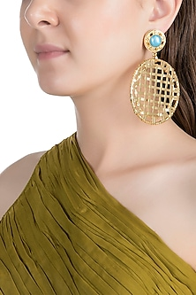 Gold Plated Metal Jali Tribal Long Earrings by Valliyan by Nitya Arora