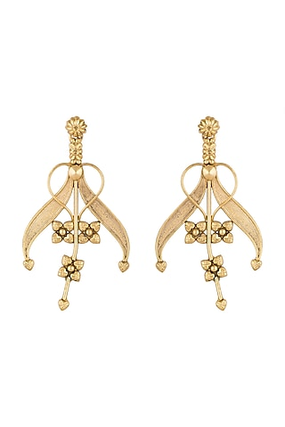 Gold Plated Antique Tribal Lily Earrings by Valliyan by Nitya Arora