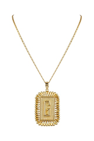 Gold Finish Pendant Necklace With Initials by Valliyan by Nitya Arora