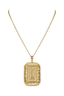 Gold Finish Necklace With Initials by Valliyan by Nitya Arora