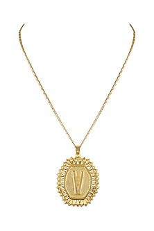 Gold Finish Initial Round Pendant Necklace by Valliyan by Nitya Arora