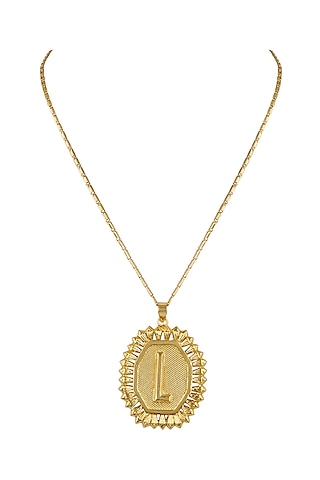 Gold Finish Initial Pendant Necklace by Valliyan by Nitya Arora
