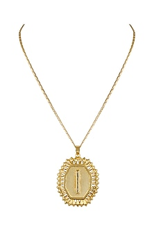 Gold Finish Pendant Initial Necklace by Valliyan by Nitya Arora