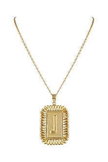 Gold Finish Initial Big Pendant Necklace by Valliyan by Nitya Arora