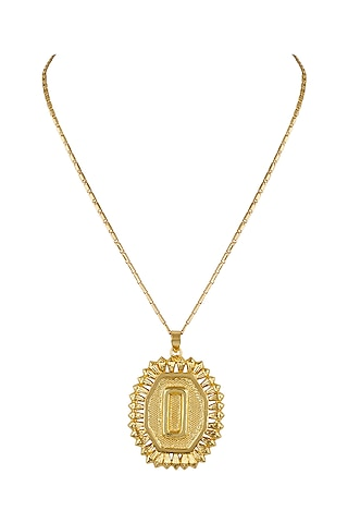 Gold Finish Pendant Necklace by Valliyan by Nitya Arora