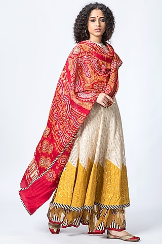 Ivory & Mustard Embroidered Anarkali Set by Verb by Pallavi Singhee