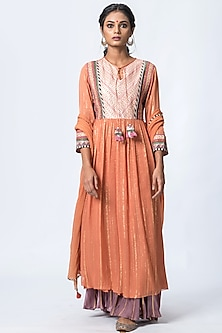 Orange Embroidered Kurta Set by Verb by Pallavi Singhee