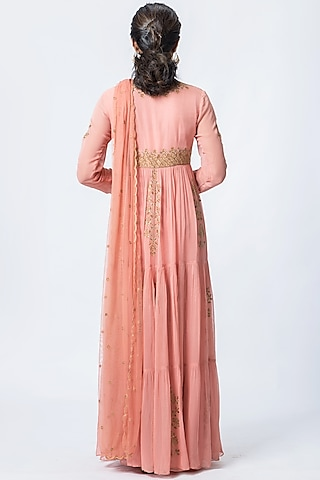 Salmon Pink Embroidered Anarkali Set by Verb by Pallavi Singhee
