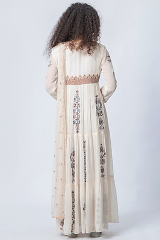 Ivory Embroidered Anarkali Set by Verb by Pallavi Singhee