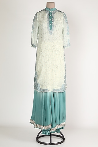 White & Teal Blue Embroidered Sharara Set by Verb by Pallavi Singhee