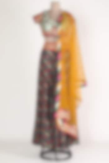 Black & Yellow Embroidered Skirt Set by Verb by Pallavi Singhee