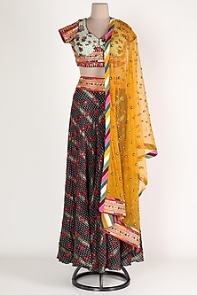 Black & Yellow Embroidered Skirt Set by Verb by Pallavi Singhee-POPULAR PRODUCTS AT STORE