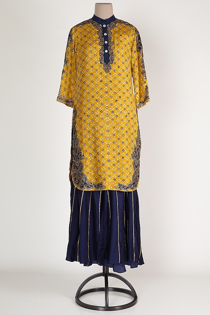 Mustard Embroidered Sharara Set by Verb by Pallavi Singhee