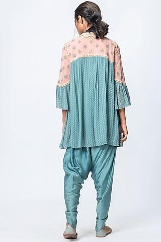Blot Blue & Pink Printed Dhoti Pant Set by Verb by Pallavi Singhee