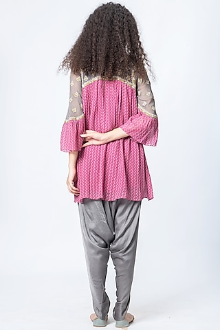 Mellow Pink Printed Dhoti Pant Set by Verb by Pallavi Singhee