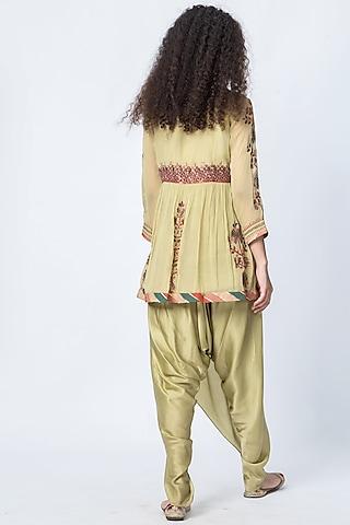 Leek Green Printed Dhoti Pant Set by Verb by Pallavi Singhee