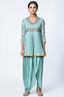 Powder Blue Printed Dhoti Pant Set by Verb by Pallavi Singhee