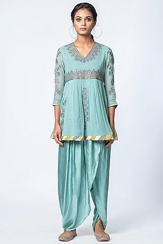 Powder Blue Printed Dhoti Pant Set by Verb by Pallavi Singhee