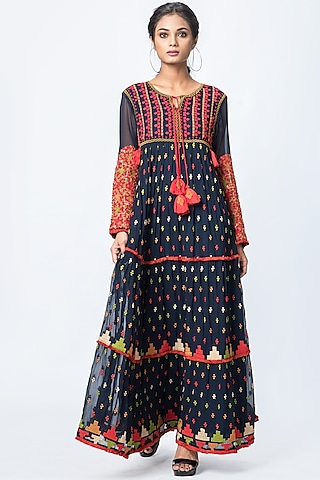 Navy Blue Embroidered Maxi Dress by Verb by Pallavi Singhee